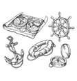 set isolated sketch seaship boat equipment vector image