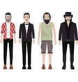 set of bearded guy with many clothes vector image vector image
