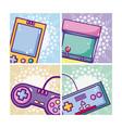 set of retro videogames cards vector image vector image