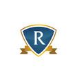 shield ribbon letter r vector image