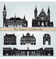 the hague landmarks and monuments vector image vector image