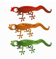 Three cartoon lizards red green and orange vector image