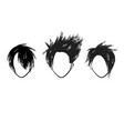 three hair style faces vector image