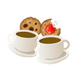 two cups of coffee with cookies vector image