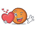 with heart cookies mascot cartoon style vector image