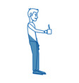 young man standing holding coffee cup break vector image