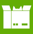 cat in a cardboard box icon green vector image
