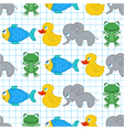 seamless pattern with pixel animals vector image