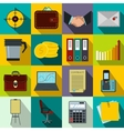 Business and office work icons set flat style vector image