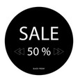 50 off sale promotion flat badge graphic sale vector image vector image