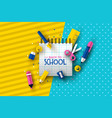 back to school card papercut fun children supplies vector image vector image