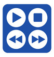 blue white sign - four music control buttons icon vector image vector image