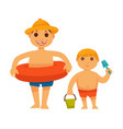 boy in lifebuoy and brother with bucket on white vector image vector image
