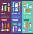 cartoon medicine bottles for drugs banner vector image vector image