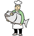 Chef holding a big fish vector image vector image