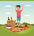 color scene landscape of picnic basket and boy vector image vector image