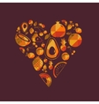 colorful fruit heart vector image