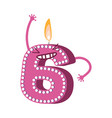 cute birthday candle number character six vector image vector image