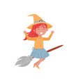 cute smiling red haired little girl dressed as a vector image vector image