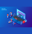 dark isometric online shopping concept with laptop vector image vector image