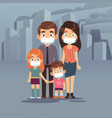 family city smog people protective face masks vector image vector image