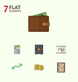 Flat icon incoming set of billfold growth