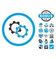 Gears Flat Icon with Bonus vector image vector image