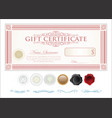 gift certificate retro vintage template 5 vector image vector image