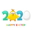 happy easter 2020 with cute flat chicken ang egg vector image