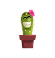 happy smiling cactus character with pink flower vector image vector image