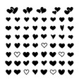 heart silhouettes over white background vector image