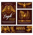 heraldic golden eagles with laurel branches vector image vector image