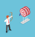 isometric businessman shooting at the center of vector image vector image