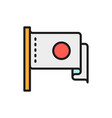 japanese flag flat color line icon vector image