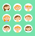 kids in circles frames children boys and girls vector image