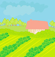 Landscape - Farm and fields vector image vector image