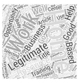 Legitimate Work From Home Opportunities Word Cloud vector image vector image