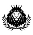 lion in crown and laurel wreath vector image