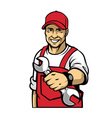 mechanic hold a wrench vector image vector image