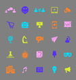 Media marketing color icons on gray background vector image vector image