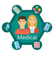 medical flat poster vector image vector image