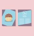 menu card with delicious cupcake vector image vector image