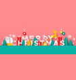merry christmas banner paper cut toy landscape vector image vector image