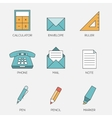 Office tools color line icons vol 2 vector image vector image