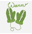 Pair of bright green winter knitted mittens sketch vector image vector image