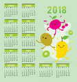 planner calendar 2018 fruit cute cartoon vector image vector image