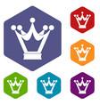 princess crown icons set hexagon vector image vector image