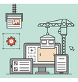 process creating site process coding and vector image vector image