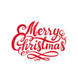 red merry christmas text calligraphic lettering vector image vector image