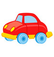red toy car with blue wheels vector image vector image